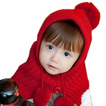 Cute Red Winter Cape Hat Toddler Woolen Knitted Hat Winter Cloak For 1-4Y