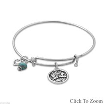 .925 Sterling Silver 2 Doves Heart Love Turquoise Stackable Bangle Bracelet