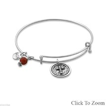 .925 Sterling Silver Faith CZ Cross  Red Carnelian  Stackable Bangle Bracelet