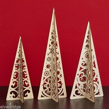 Laser Wood Centerpiece Flourish Set of three Filigree holiday Christmas Trees