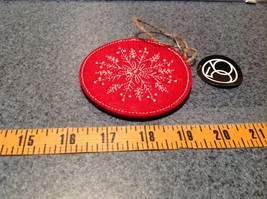 Round Felt Red Stitched Snowflake Christmas Tree Ornament Department 56 image 4