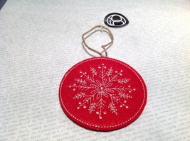 Round Felt Red Stitched Snowflake Christmas Tree Ornament Department 56 image 2