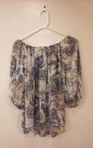 Unbranded Women's Size 10 Blouse Top Boat Neck Off-Shoulder Flowy Blue & Cream