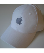 Apple logo Hat silver embroidered adjustable wh... - $17.85