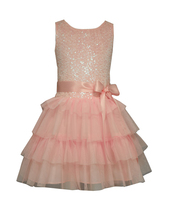 Little Girls 2T-4T Sequin To Dropwaist Tiered Mesh Bithday Social Party Dress - $34.99