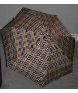 New small lightweight tan plaid foldable umbrel... - $29.99