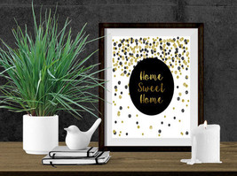 Home Sweet Home//Entryway Print// Black and Gold with Glitter//Home Decor Art// - $10.00