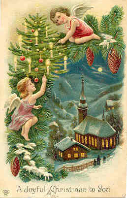 Primary image for Merry Christmas From The cherubs vintage Post Card