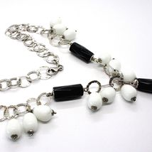 Silver 925 Necklace, Onyx Black, Agate White Drop, Waterfall Pendant image 5