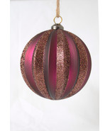 Pottery Barn magenta glitter stripe Christmas ornament  Victorian purple - $7.95
