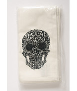 Pottery Barn Day of the Dead napkins  set of 4 Halloween black skulls - $127.99