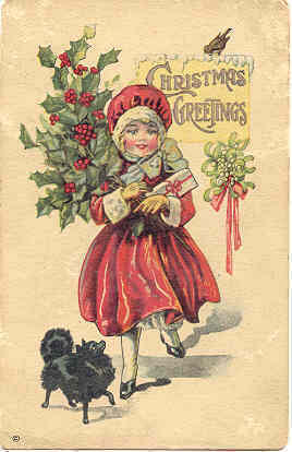 Primary image for Christmas Greetings Vintage Post Card