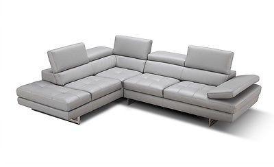 J&M Modern Aurora Full Italian Leather Adjustable Headrests Sectional Sofa Left