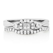 Bridal Set With 1/3 Carat Tw Of Simulated Diamonds In 10kt White Gold Plated - $198.58