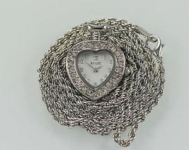 Relic by Fossil Heart Crystals Necklace Silver Stainless Steel WR Quartz... - $18.96