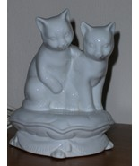 Porcelain Kitty Cat Night Light 2 Cats Sitting ... - $32.00