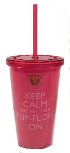 """Keep Calm and Put Your Flip Flops On"" Insulated Tumbler By Cape Shore"