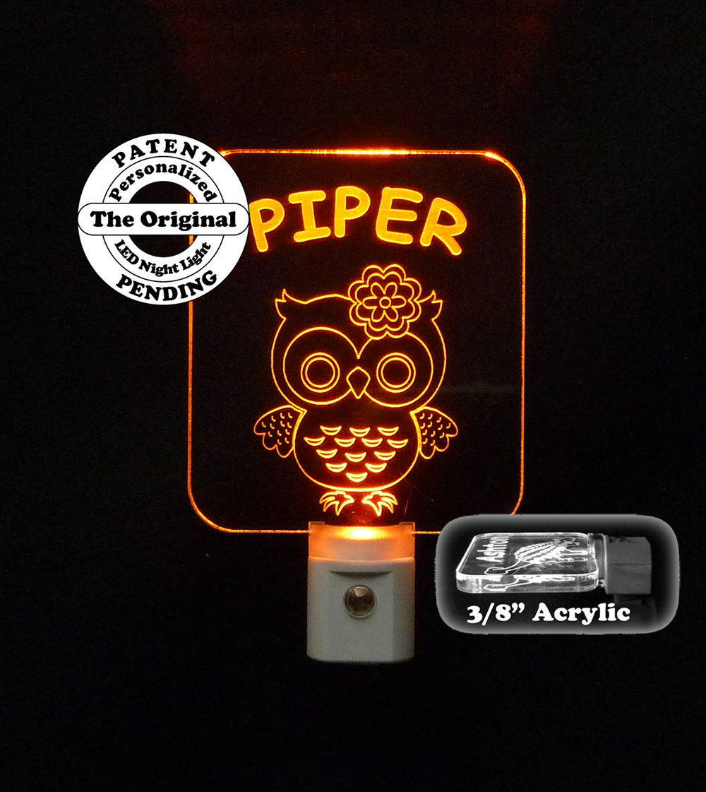 Kids Owl Led Night Light Personalized Handmade Nursery