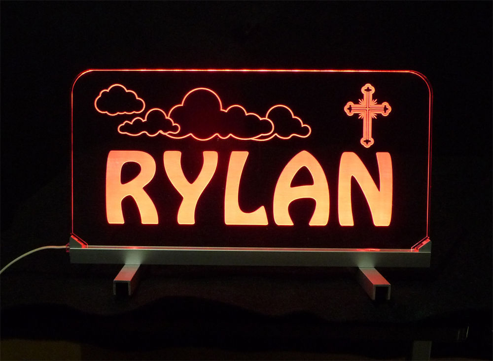 "Personalized LED Desk Table Sign - 11.375"" x 6"" Night Light, Lamp, Kids"