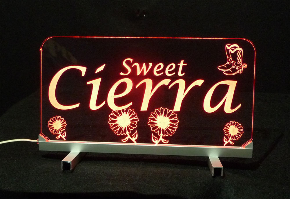 "LED Desk Table Sign, Personalized - 11.375"" x 6"" Night Light, Lamp, Kids"