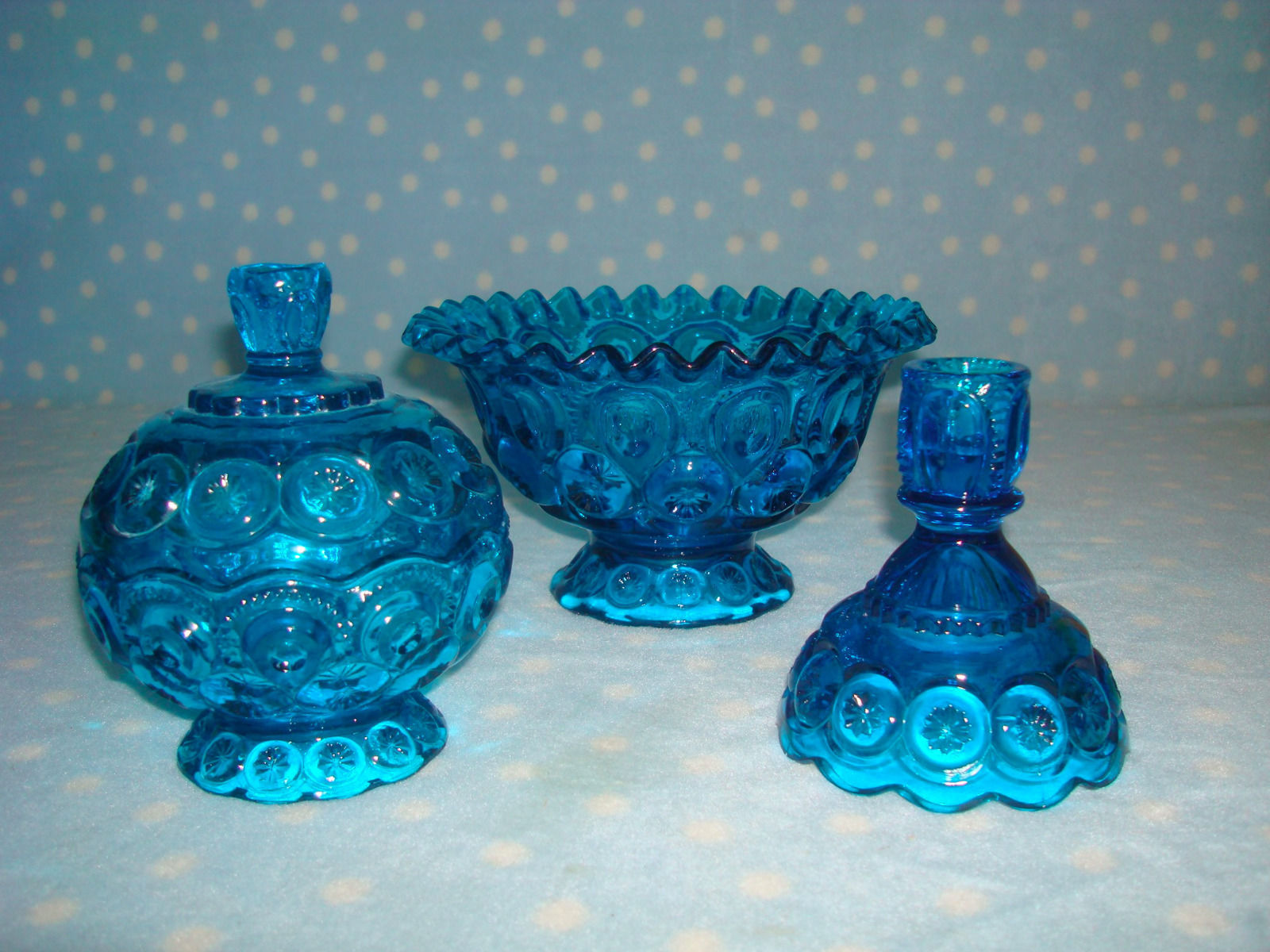 Moon & Stars Cobalt Blue by L.E. Smith Glass ~ lot 4 compote, candy, candlestick