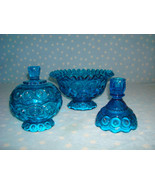 Moon & Stars Cobalt Blue by L.E. Smith Glass ~ lot 4 compote, candy, can... - $30.00