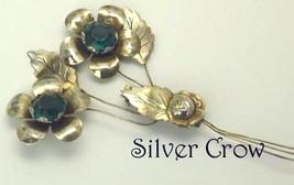 Vintage Sterling Silver Vermeil Floral  Pin Brooch Green Centers - $19.99