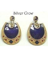 Gold Tone Purple Enamel Red Glass Berebi Earrin... - $19.99