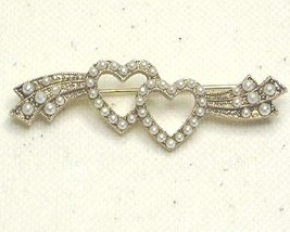1928 Designer Faux Pearl & Gold Tone Bar Pin Brooch - $18.99