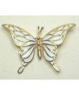 Vintage White Enamel and Gold Tone Butterfly Pin Brooch - $17.99