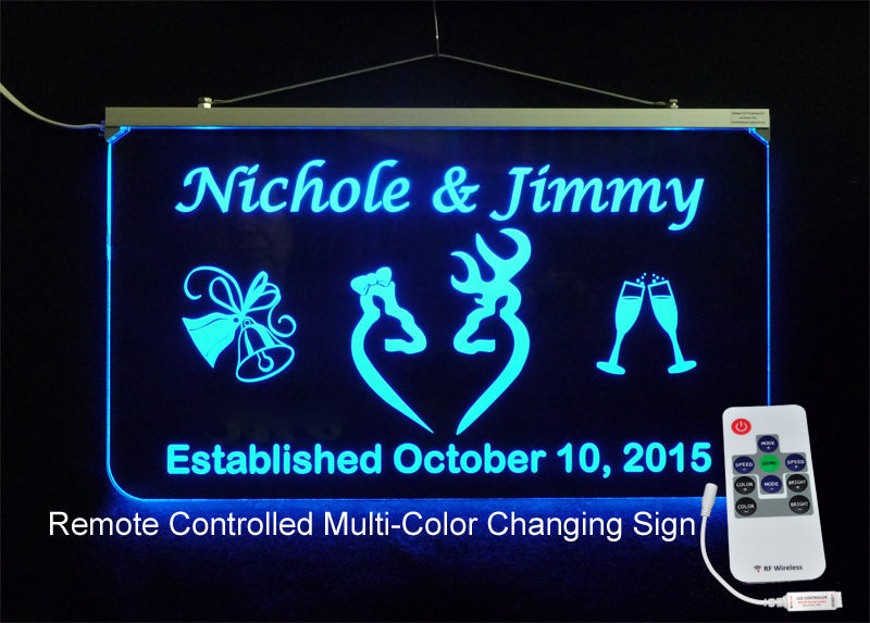 Primary image for Personalized Wedding Sign, Multi-Color Changing -Gift Doe & Buck - Handmade