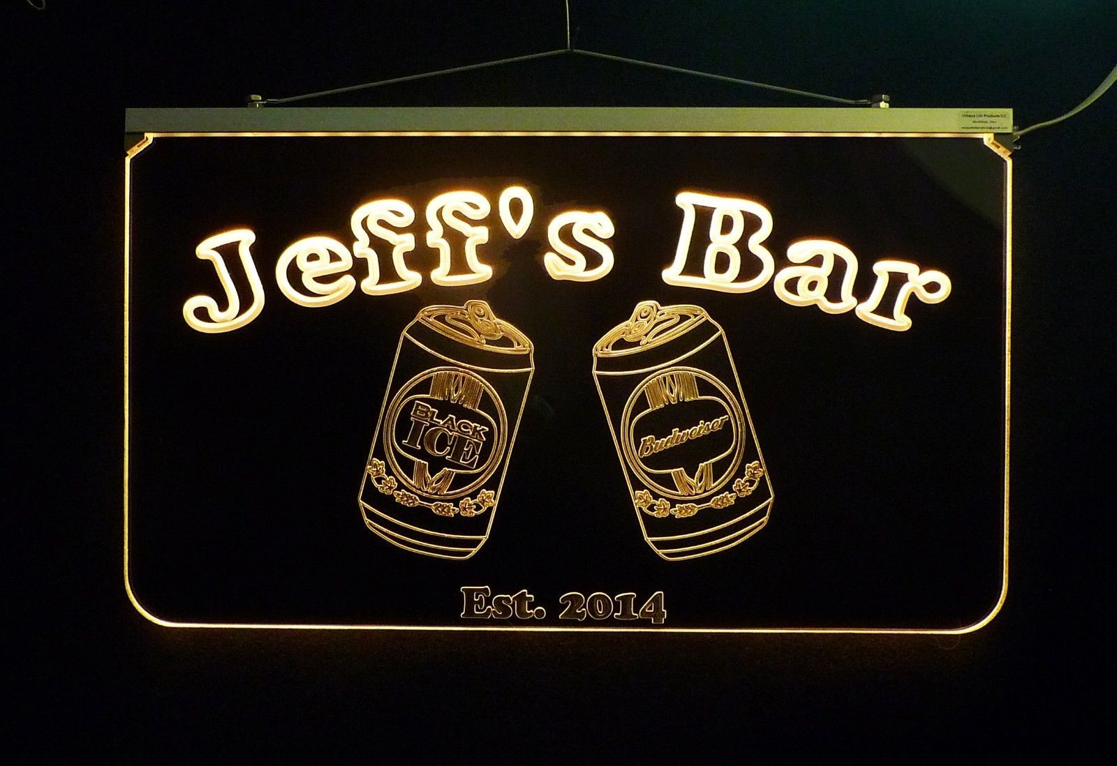 Personalized LED Bar Sign Pub Sign with Beer Cans Handmade Multicolor Changing