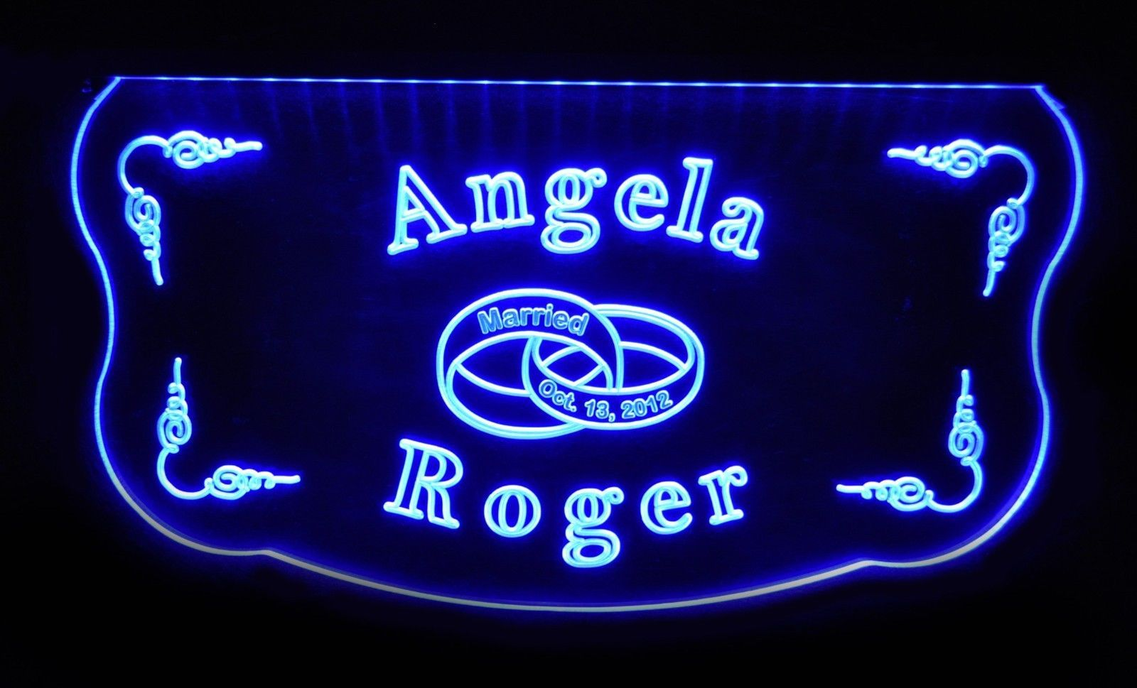 Personalized Wedding, Anniversary Acrylic Sign LED Color Changing, Custom