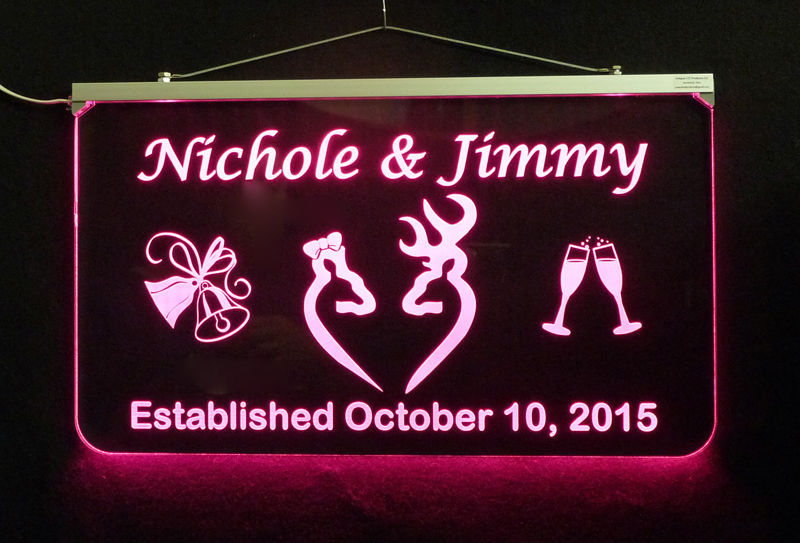 Personalized Wedding Sign, Multi-Color Changing -Gift Doe & Buck - Handmade