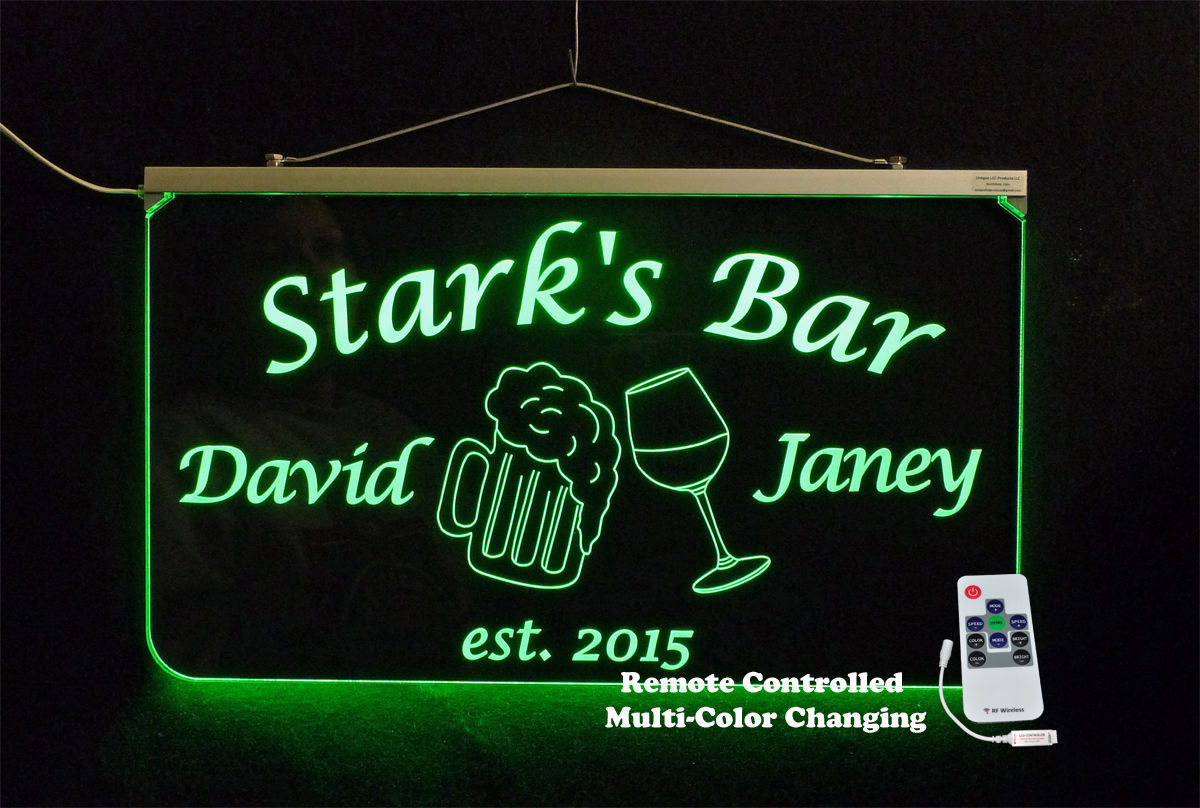 Primary image for Personalized Bar Sign, Anniversary gift, Name sign, Wedding Gift, multi-color