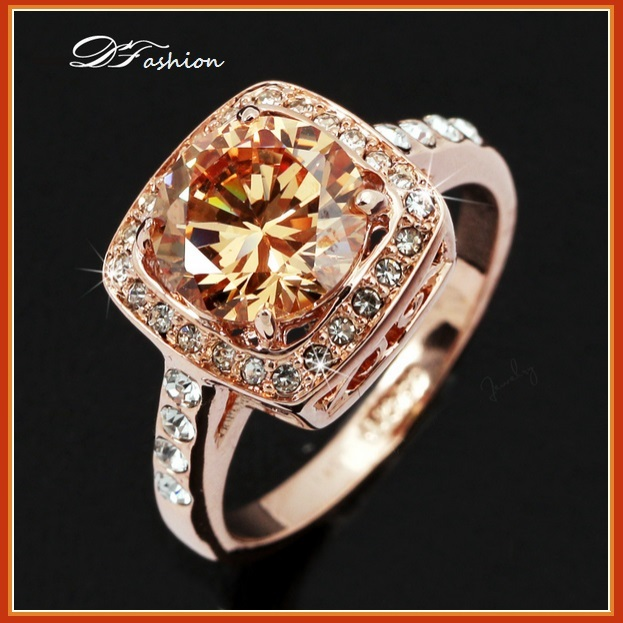 Amber Topaz Love Pledge Ring Prong Set Cz 18K Rose Gold Fill Fashion Rings