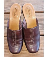 Clarks Size 8M Brown Leather Comfort Career Women's 77473 Wedge Closed T... - $28.25