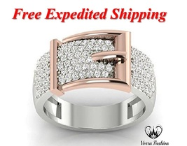 Belt Buckle Band Ring Round Cut Sim Diamond White Gold Over 925 Sterling... - $131.89