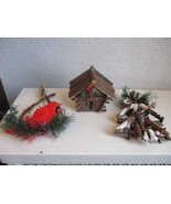 Lot of 3 Primitve ornaments birdhouse tree and cardinal on branch - $3.99