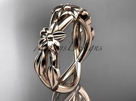14kt rose gold leaf and flower engagement ring, wedding band ADLR204G - $575.00