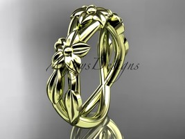 14kt yellow gold leaf and flower engagement ring, wedding band ADLR204G - $575.00