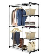 Large Steel Closet Organizer Insert 2 Levels of Rods Hanging Space w 4 S... - $67.07