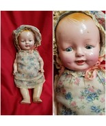 ANTIQUE 1920s Composition BABY DOLL w TEETH,blinking eyes, sound box, dress - $109.40