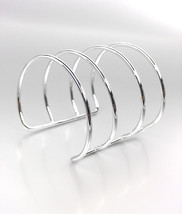 CHIC & MODERN Silver Metal Wire Ribbed Wide Gladiator Cuff Bracelet PLUS... - $363,14 MXN
