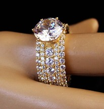 HUGE Engagement ring - 4ct absolute - pave cz band - gold over sterling ... - $285.00