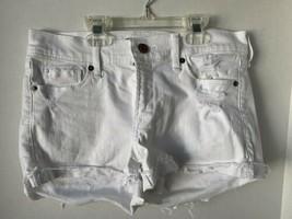 Abercrombie & Fitch Size 2 White Denim Shorts Rolled Hem - $14.84