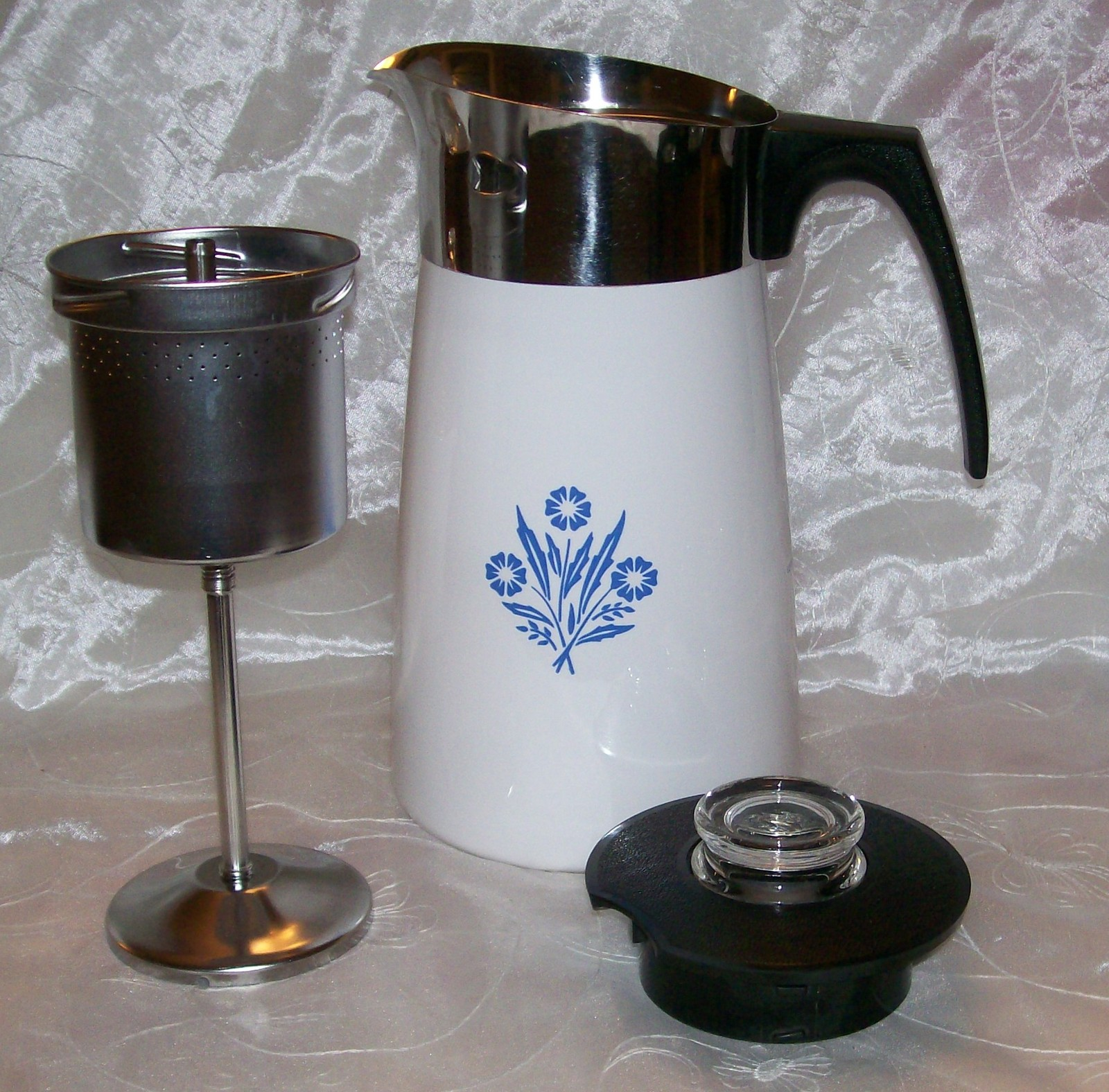 Vintage Corning Blue Cornflower Stove Top 9 Cup Coffee Pot