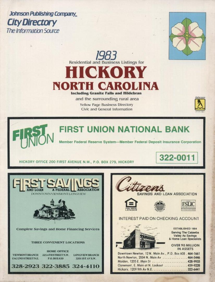 Vintage 1980s Hickory NC Phone Book Locator City Directory Supplement