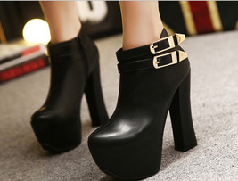 PB049 sweet ankle booties with double buckles, size 34-39, black - $70.20