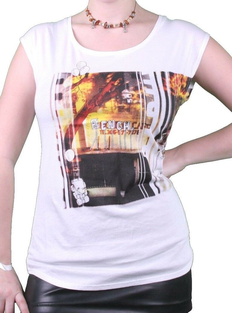 Bench UK Womens White Watertown Building Fire Picture Sleeveless T-Shirt NWT